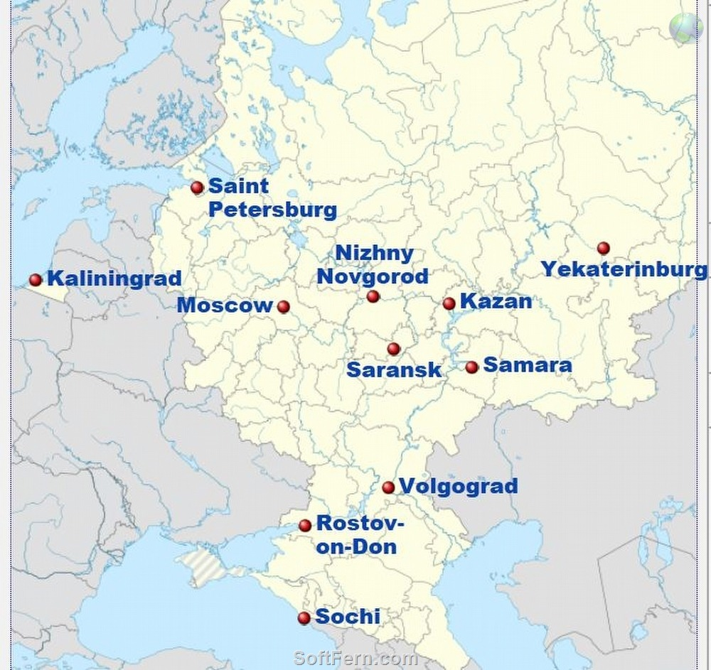 11 cities that will host the 2018 world cup in russia host cities world cup 2018 russia host cities map gumiabroncs Gallery
