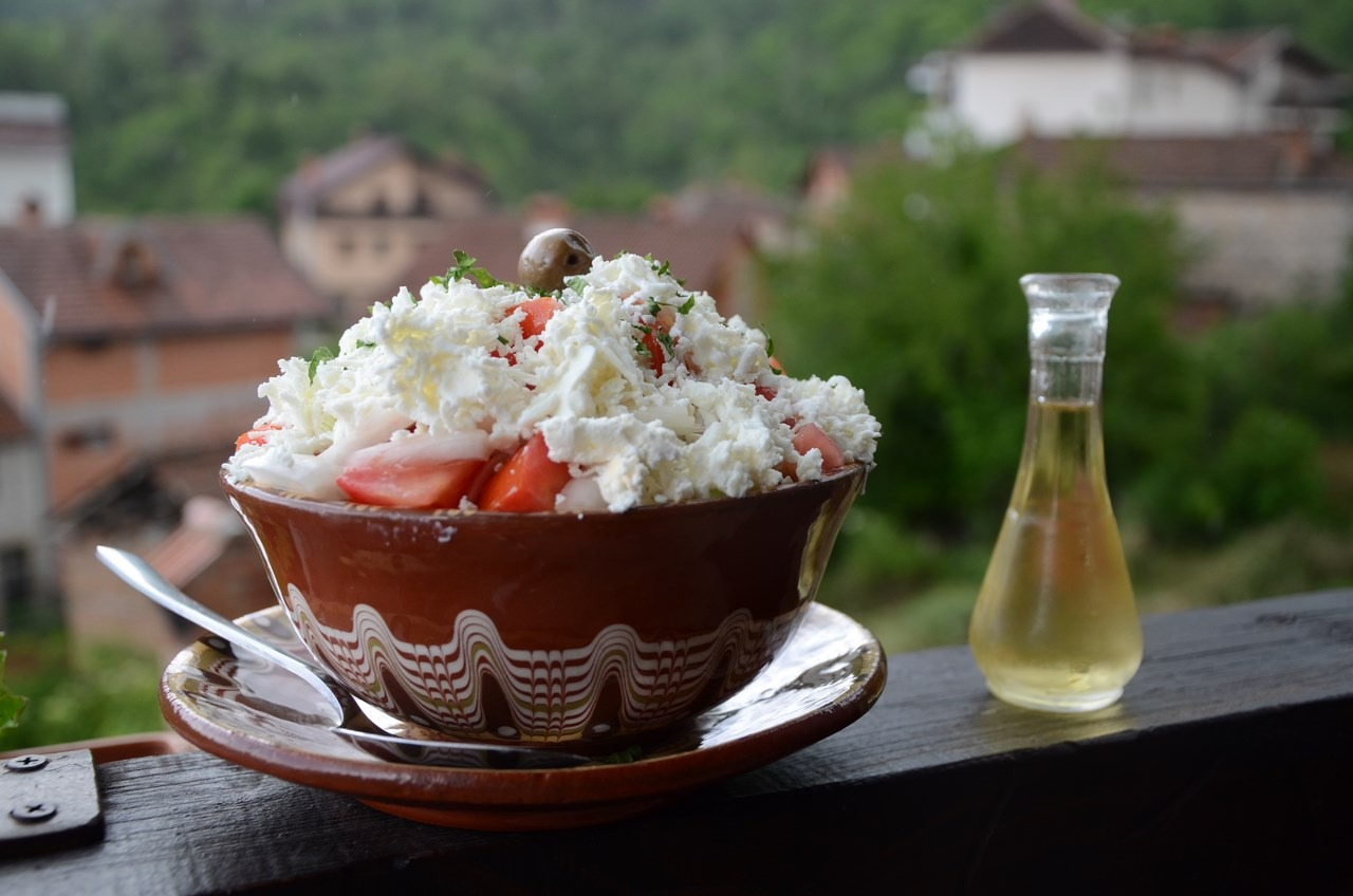 Food - Shopska salad and Rakija