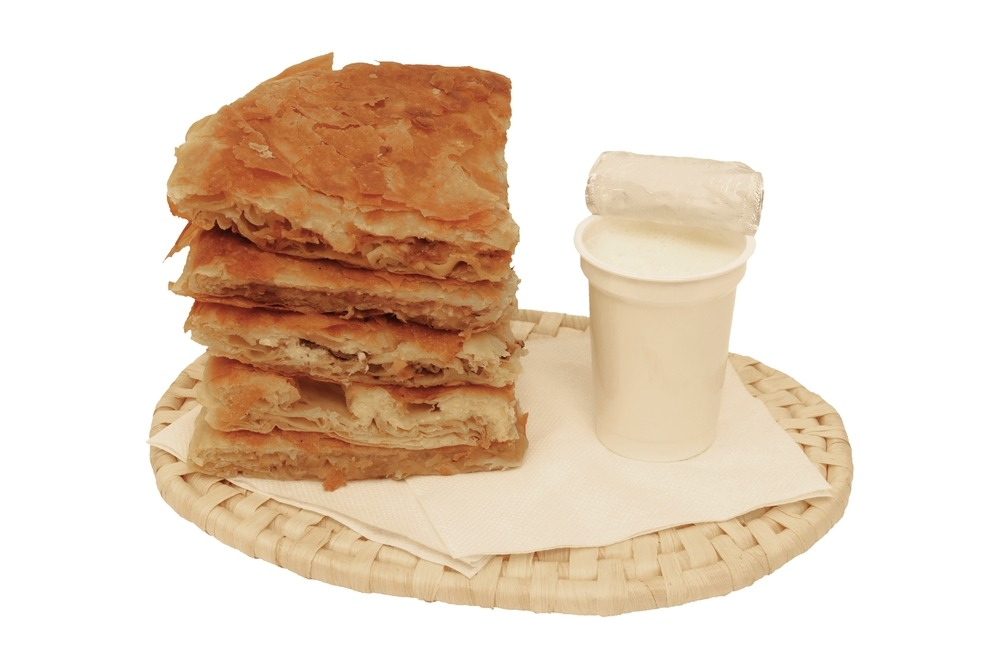 Macedonian Burek breakfast pie with yoghurt